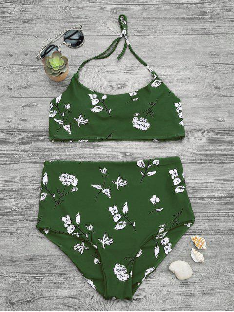 outfit Slimming Control High Waisted Bralette Bikini Set - GREEN L Mobile
