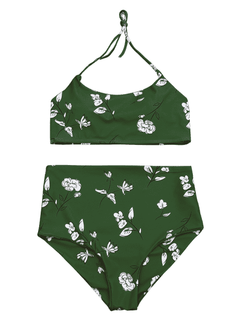 outfits Slimming Control High Waisted Bralette Bikini Set - GREEN M Mobile
