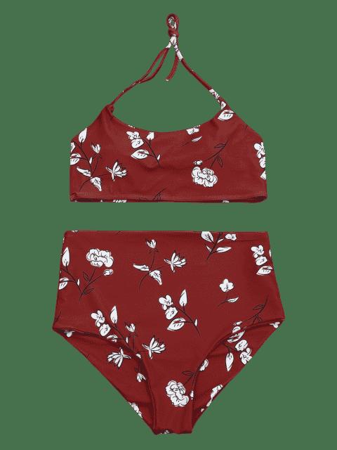 Ensemble de Bikini Amincissant Bralette Taille Haute Contrôle - Rouge S Mobile