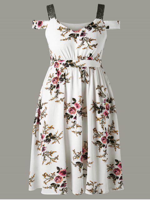 unique Plus Size Tiny Floral Cold Shoulder Dress - WHITE 4XL Mobile