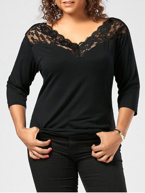 ladies Lace Sheer Trim Plus Size T-shirt - BLACK 3XL Mobile