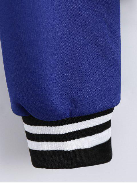 latest Zip Up Striped Jacket - BLUE L Mobile