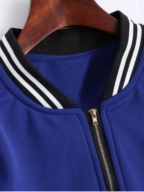 trendy Zip Up Striped Jacket - BLUE XL Mobile