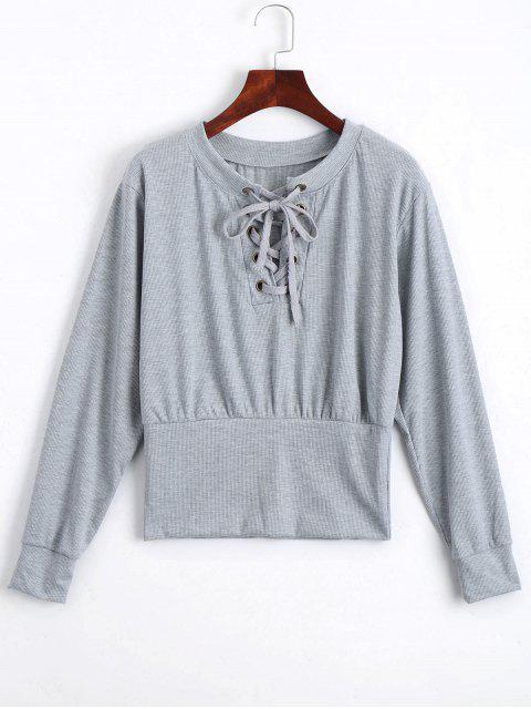 T-shirt Tressé Manches Longues à Lacets - Gris M Mobile