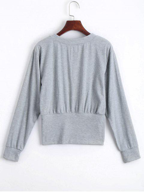 chic Lace Up Long Sleeve Knitted Tee - GRAY M Mobile