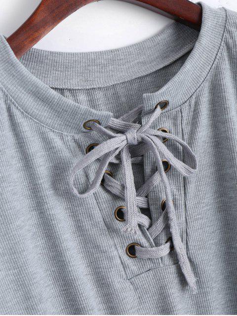 T-shirt à manches longues à manches longues - Gris L Mobile