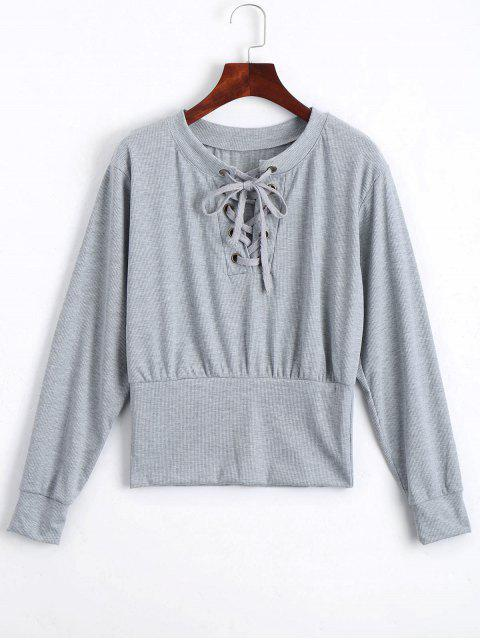unique Lace Up Long Sleeve Knitted Tee - GRAY XL Mobile