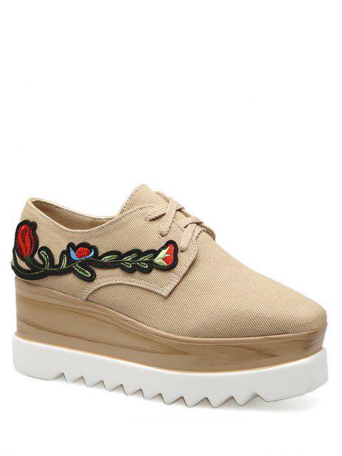 Chaussures à semelles compensées à bout carré en denim - Abricot 40 Mobile
