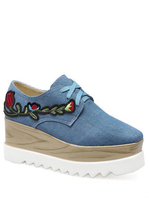 Denim Square Toe Embroidery Wedge Shoes - Denim Bleu 39 Mobile