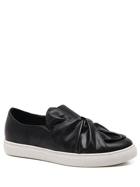 buy Bow Round Toe Faux Leather Flat Shoes - BLACK 37 Mobile