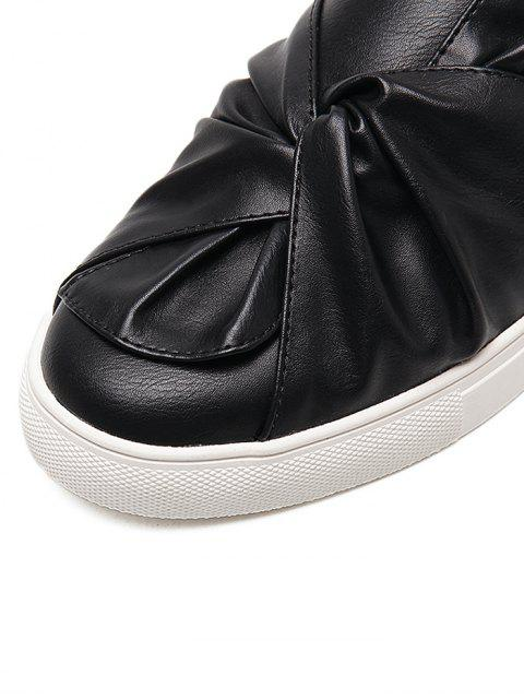 women's Bow Round Toe Faux Leather Flat Shoes - BLACK 40 Mobile