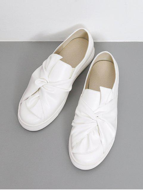 online Bow Round Toe Faux Leather Flat Shoes - WHITE 38 Mobile
