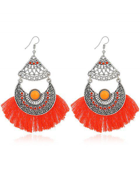 ladies Rhinestone Moon Tassel Gypsy Hook Earrings - ORANGE  Mobile
