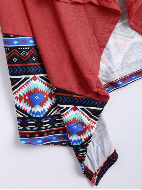 Cardigan à imprimé géométrique ouvert avant - Pastèque Rouge XL Mobile