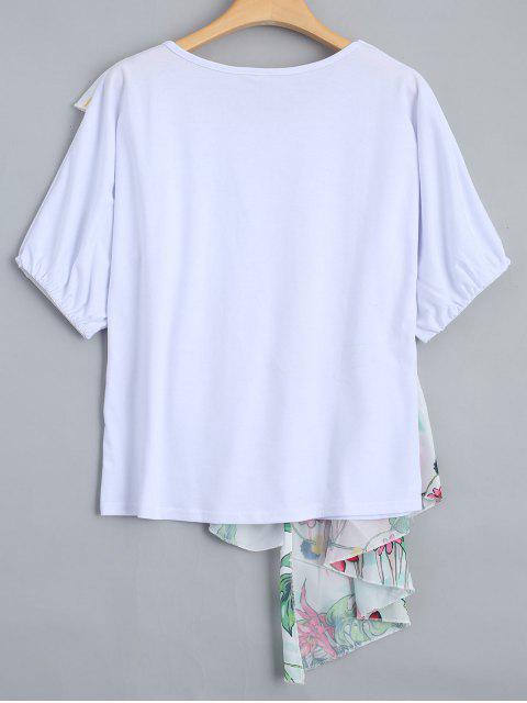 T-shirt à imprimé floral Ruffles - Blanc L Mobile