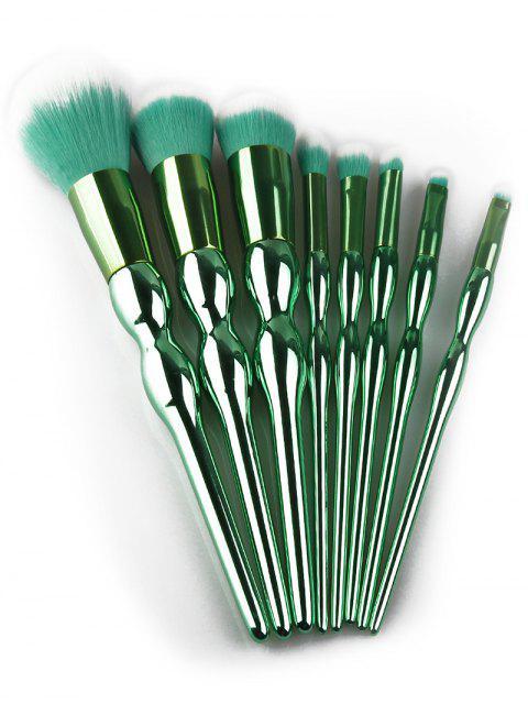 8Pcs Plated Calabash diseño mango pinceles de maquillaje Set - Verde  Mobile