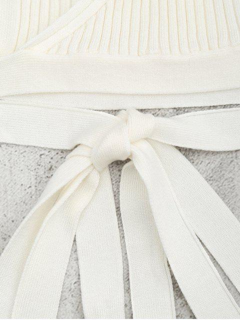 outfits Knitted Wrap Crop Tank Top - WHITE S Mobile