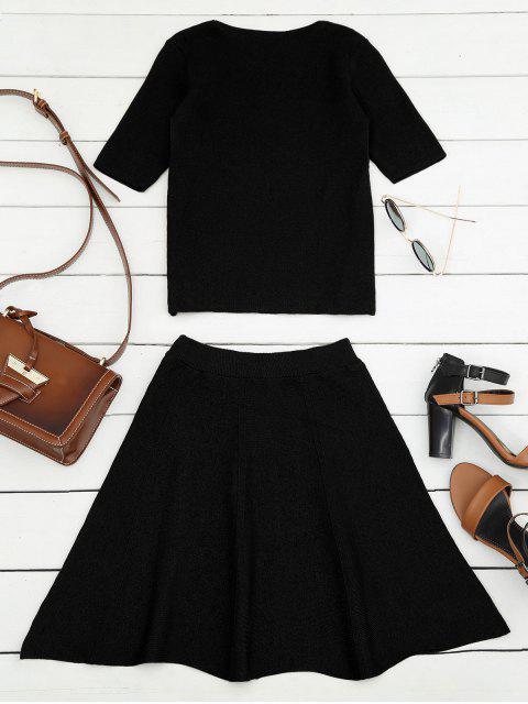 Hauteur en perle tricotée et une jupe miniature - Noir TAILLE MOYENNE Mobile