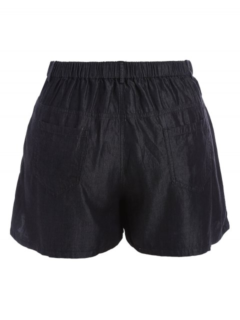 lady High Waisted Casual Plus Size Shorts - BLACK 5XL Mobile