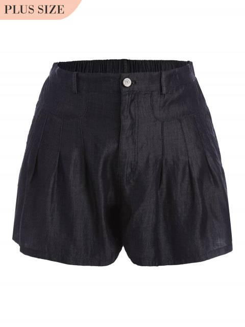 hot High Waisted Casual Plus Size Shorts - BLACK 3XL Mobile