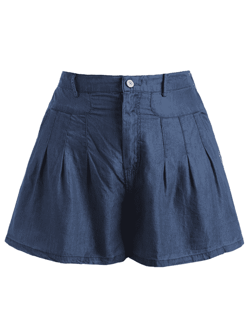shops High Waisted Casual Plus Size Shorts - BLUE 4XL Mobile