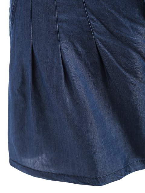trendy High Waisted Casual Plus Size Shorts - BLUE 3XL Mobile