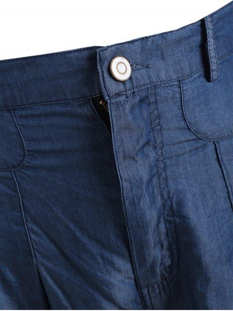 unique High Waisted Casual Plus Size Shorts - BLUE 5XL Mobile