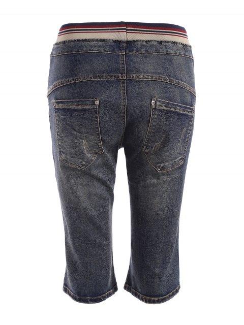 affordable Plus Size Drawstring Fifth Jeans - DENIM BLUE 2XL Mobile
