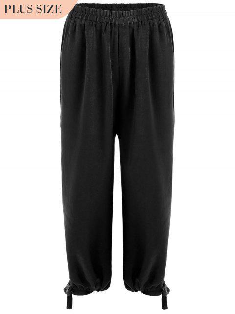 women's Bow Tie Plus Size Harem Pants - BLACK XL Mobile