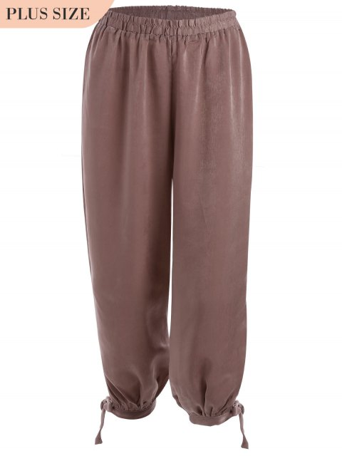 shop Bow Tie Plus Size Harem Pants - RUSSET-RED XL Mobile