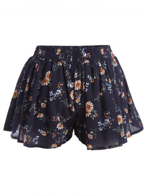 trendy Elastic Waist Plus Size Tiny Floral Shorts - FLORAL 2XL Mobile