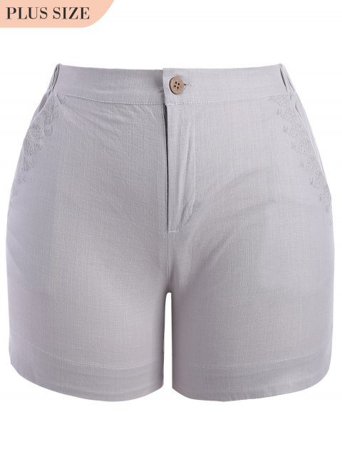 best Plus Size High Waisted Embroidered Shorts - GRAY 2XL Mobile
