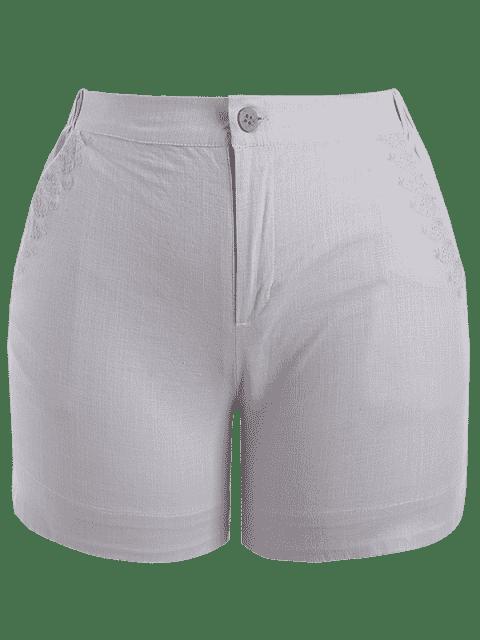 Shorts brodés haute taille taille haute - Gris XL Mobile