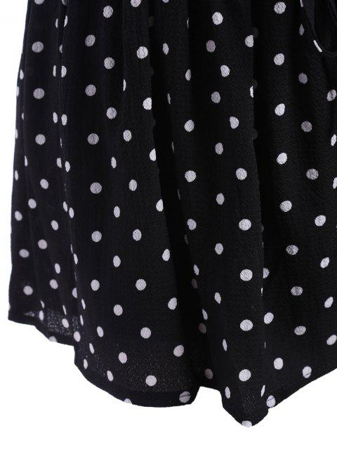 outfits Elastic Waist Plus Size Polka Dot Shorts - WHITE AND BLACK 3XL Mobile