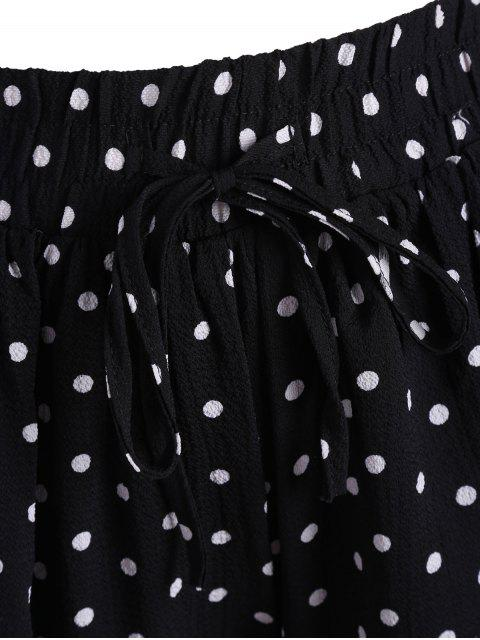 shop Elastic Waist Plus Size Polka Dot Shorts - WHITE AND BLACK 4XL Mobile