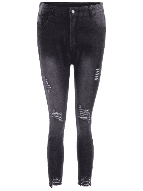 Cutoffs Ripped Plus Size Jeans - Noir 2XL Mobile