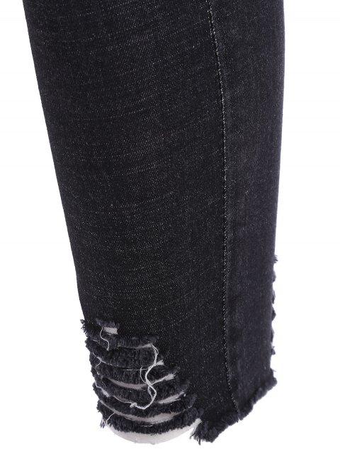 unique Cutoffs Ripped Plus Size Jeans - BLACK 3XL Mobile