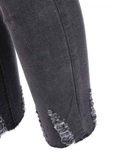 women's Plus Size Destroyed Cutoffs Jeans - BLACK XL Mobile
