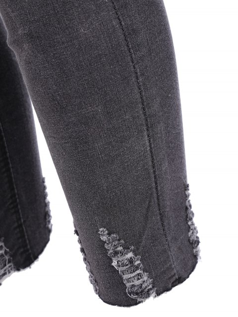 lady Plus Size Destroyed Cutoffs Jeans - BLACK 3XL Mobile