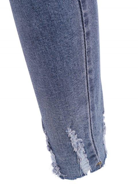 best Plus Size Destroyed Cutoffs Jeans - BLUE 3XL Mobile