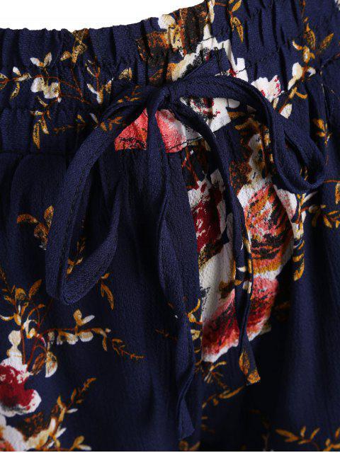 latest Plus Size Lined Floral Shorts - FLORAL 3XL Mobile
