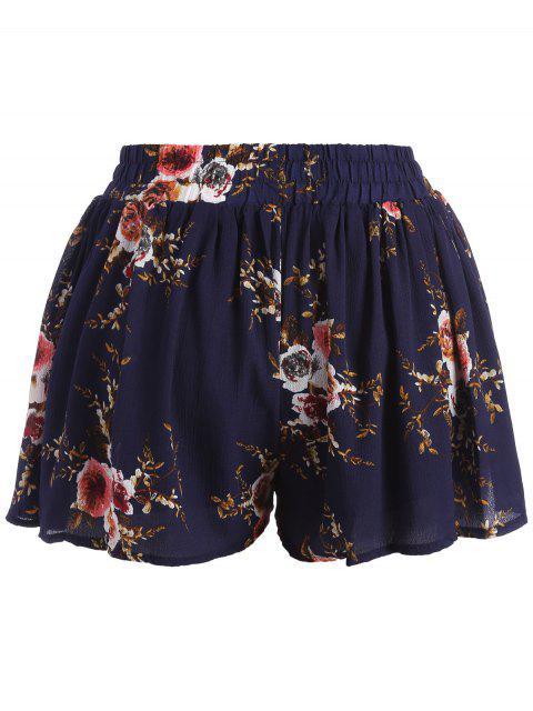 trendy Plus Size Lined Floral Shorts - FLORAL 4XL Mobile