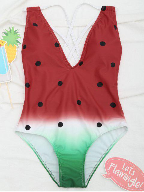 shop Cross Back One Piece Watermelon Swimsuit - RED L Mobile