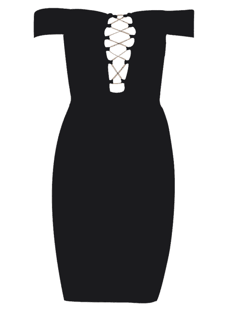 Robe de vendange Criss Cross Bodycon - Noir L Mobile
