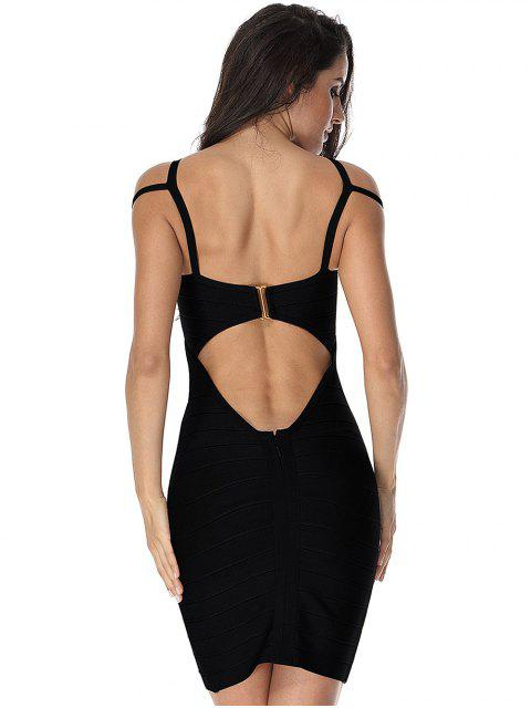 womens Cut Out Bodycon Cami Bandage Dress - BLACK L Mobile