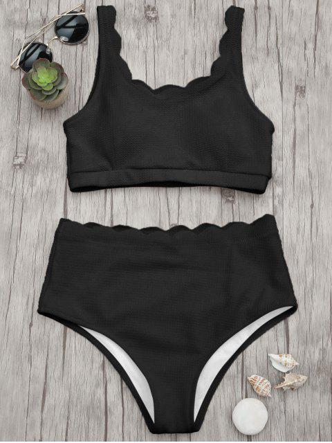 women Scalloped High Waisted Bralette Bikini Set - BLACK M Mobile