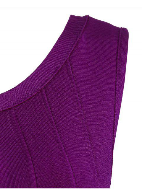 women's Sleeveless Cut Out Bodycon Bandage Dress - PURPLISH RED L Mobile