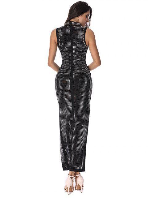 online Beaded Embellished Cut Out Slit Dress - BLACK L Mobile