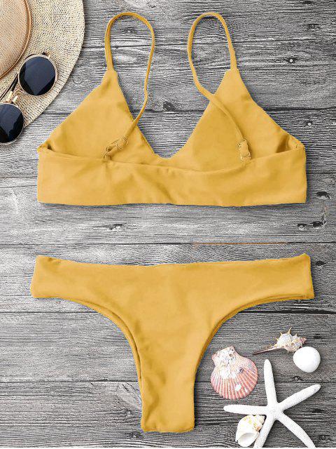 womens Adjustable Straps Padded Bralette Bikini Set - MUSTARD S Mobile