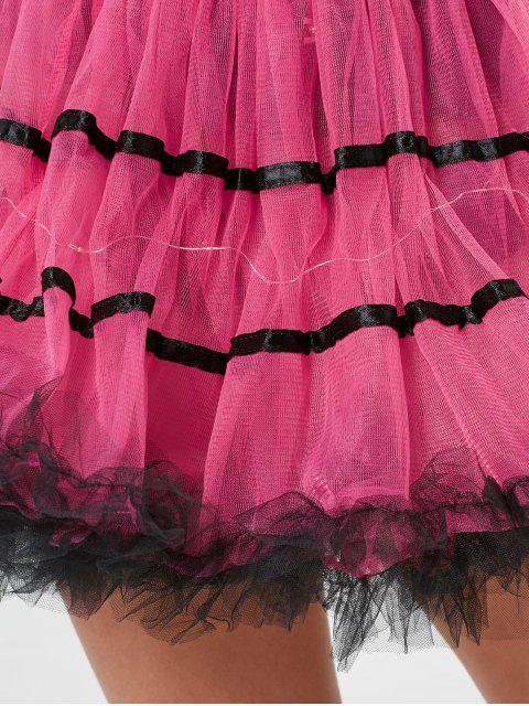 Color Block Tier Light Up Tutu Cosplay Jupe - Rose Foncé TAILLE MOYENNE Mobile